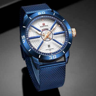 NAVIFORCE Mens Watches Top Brand Luxury Sport Watch Mesh Steel Date Week Waterproof Quartz Watch for Men Clock Relogio Masculino