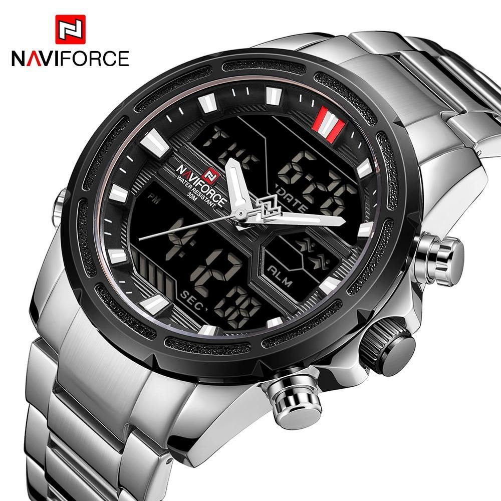 NAVIFORCE Mens Watches Quartz Dual Display Luxury Brand 2019 New Male Watch Fashion Sport Watch For Men Waterproof Mens Clock