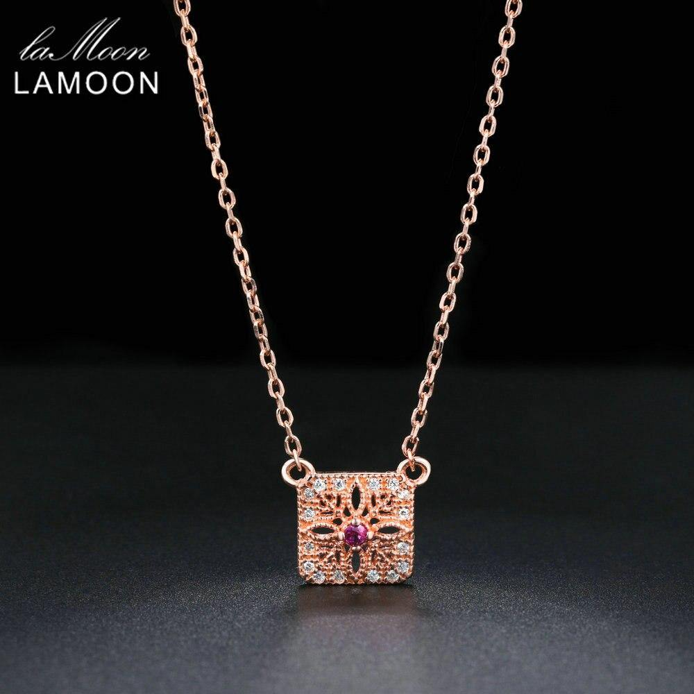 LAMOON Necklace For Women S925 Sterling Silver Natural Ruby Gemstone 2018 New Square Rose Gold Color Fine Jewelry Pendant NI019 (45cm)
