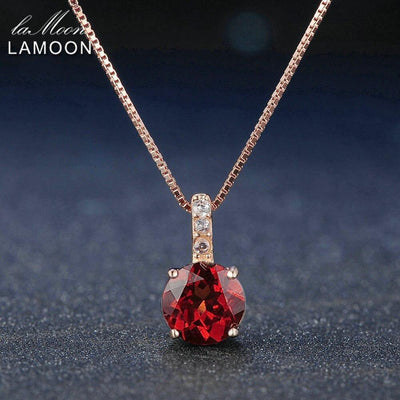 Lamoon Fine Jewelry Round Red Garnet Gemstone 925 Sterling Silver Fine Jewelry Chain Pendant Necklace For Women Wedding NI040