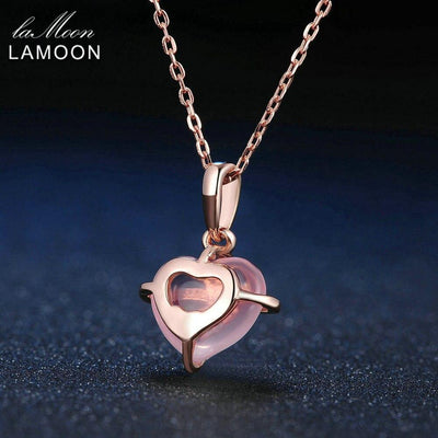 LAMOON Love Heart Shape Natural Gemstone Rose Quartz Chain Pendent Necklace For Women 925 Sterling Silver Fine Jewelry LMNI016