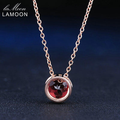LAMOON Simple Design Round Pendant Necklace for Women 1.5ct Natural Gemstone Red Garnet 925 Sterling Silver Fine Jewelry NI002