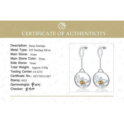 Lotus Fun Real 925 Sterling Silver Natural Creative Handmade Fine Jewelry Ladybird Beetle Dangle Earrings for Women Brincos