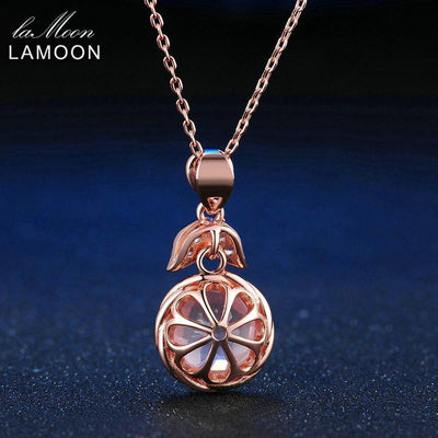 LAMOON Flower Pendent Necklace For Women 100% Natural Purity Gemstone Rose Quartz Pink 925 Sterling Silver Fine Jewelry NI011