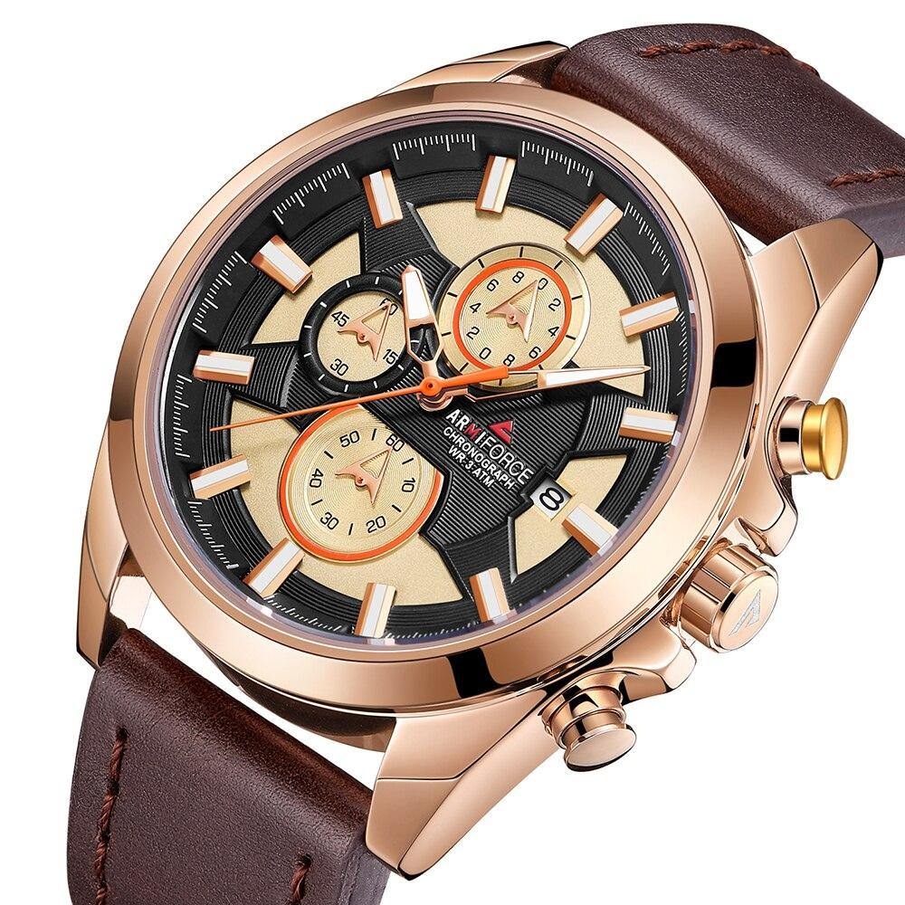 Relogio Masculino Mens Watch Waterproof Date Analogue Leather Gold Clock Quartz-watch Chronograph Business Sport Watches For Men