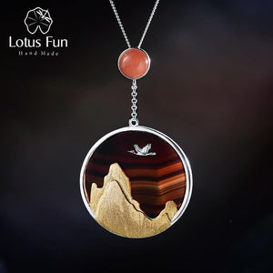 Lotus Fun Real 925 Sterling Silver Natural Gemstone Fine Jewelry Creative Returning Bird in the Sunset Pendant without Necklace