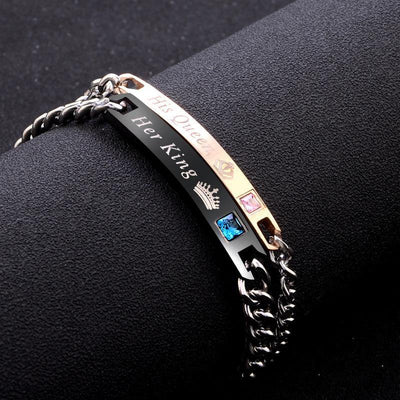 2 Style His Queen Her King Black Rose Gold Color Women's Male Chain Crystal Couple Bracelet for Men Femmo on Hands Jewelry