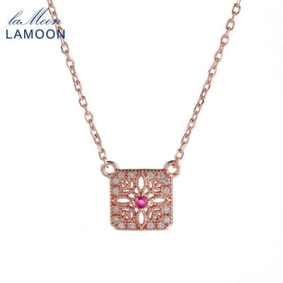 LAMOON Necklace For Women S925 Sterling Silver Natural Ruby Gemstone 2018 New Square Rose Gold Color Fine Jewelry Pendant NI019