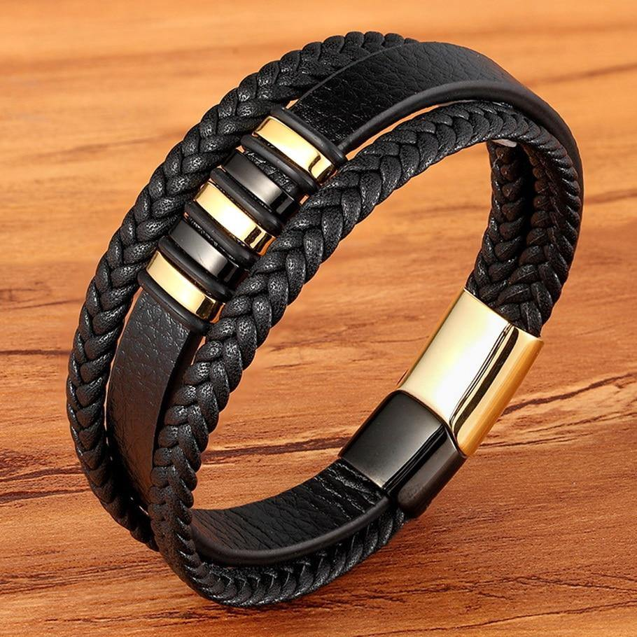 New 3 Layers Black Gold Punk Style Design Genuine Leather Bracelet for Men Steel Magnetic Button Birthday Gift Male Bracelets