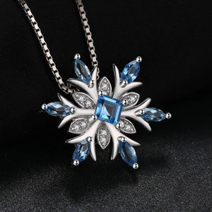 JPalace Snowflake Natural Topaz Pendant Necklace 925 Sterling Silver Gemstones Choker Statement Necklace Women No Chain