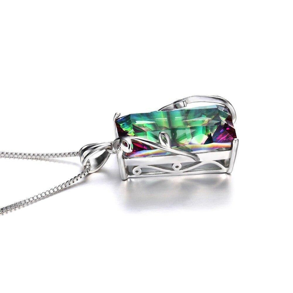 JPalace 16ct Rainbow Mystic Topaz Pendant Necklace 925 Sterling Silver Gemstones Choker Statement Necklace Women No Chain