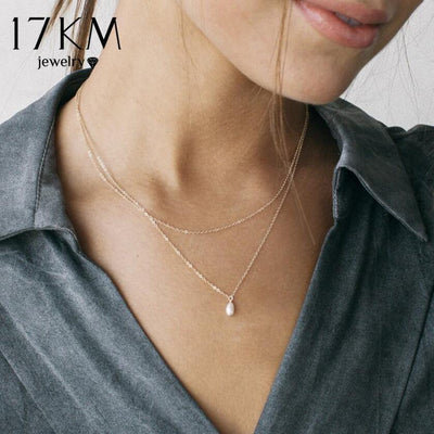 17KM Shell Pearl Chokers Necklaces For Women Gold Sliver Fashion Multi layer Long Necklaces & Pendants Bijoux Bohemian Jewelry