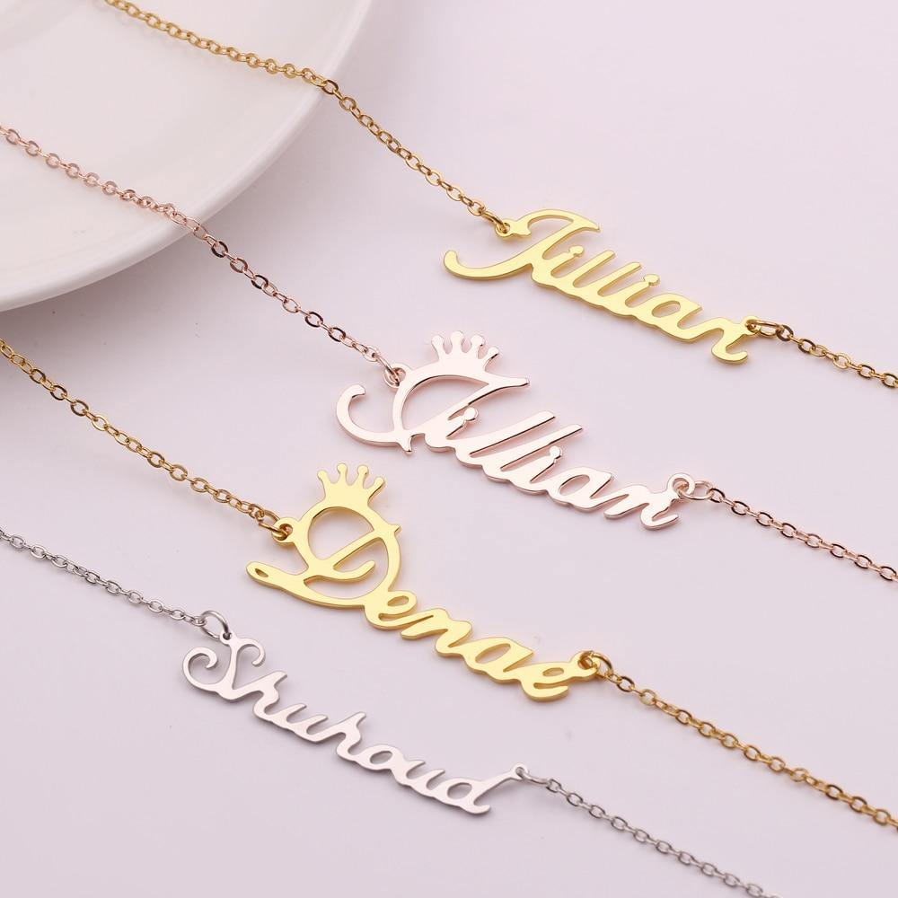 Personalized Custom Name Necklaces For Women Men Gold Silver Color Stainless Steel Long Chain Pendant Necklace
