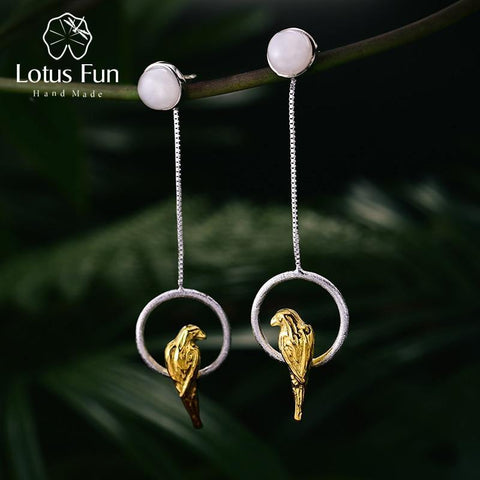 Lotus Fun Real 925 Sterling Silver Natural Creative Handmade Fine Jewelry  Unique Elegant Parrot Drop Earrings for Women Brincos