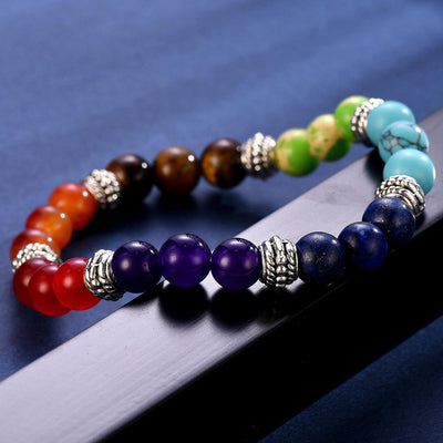 100% all Natural Stone Beads 7 Chakra Bracelet for Women Men Yoga Buddha Player Small / Big 2 Sizes Dorp Shipping Bracelets