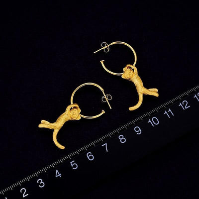 Lotus Fun Real 925 Sterling Silver Earrings Creative Handmade Fine Jewelry Cute 18K Gold Kung Fu Cat Drop Earrings for Women
