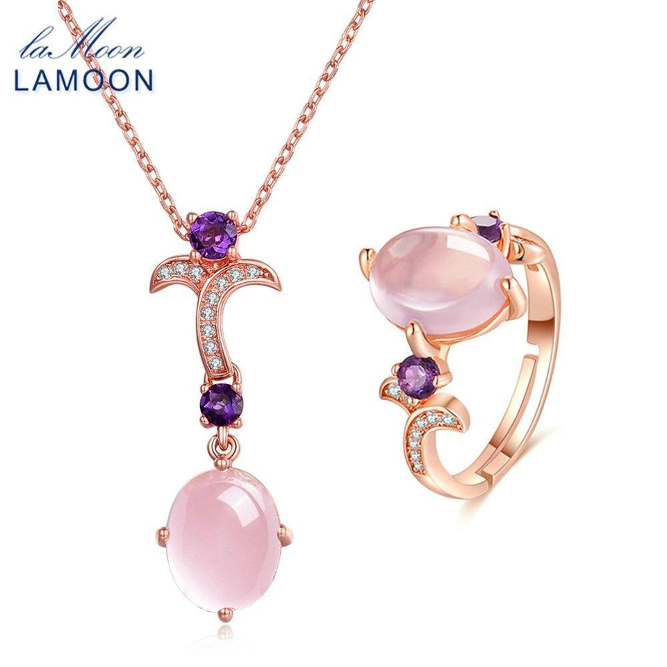 LAMOON Women's Ring Necklace Set Natural Gemstone Oval Rose Quartz 925 Sterling Silver Jewelry Rose Gold Fine Jewelry Set V025-3