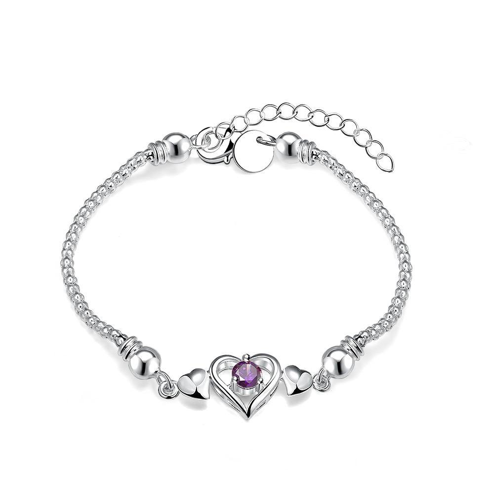 Romantic Amethyst CZ Zirconia Bracelets 925 Sterling Silver Bangles Jewelry For Christmas Valentines Gift