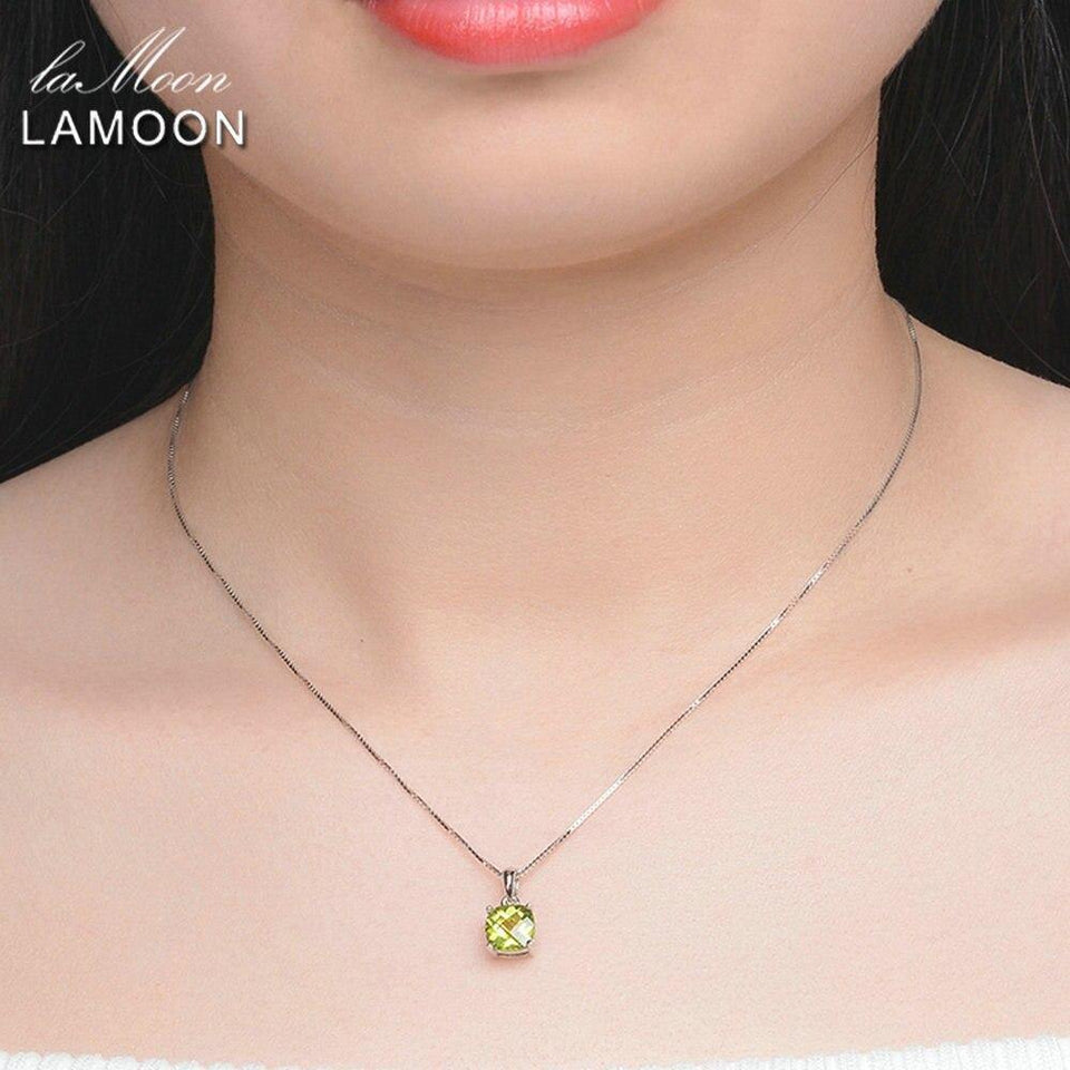LAMOON 925 Sterling Silver Pendent Necklaces For Women Simple Design Natural Square Peridot Gemstone Fine Jewelry S925 NI037
