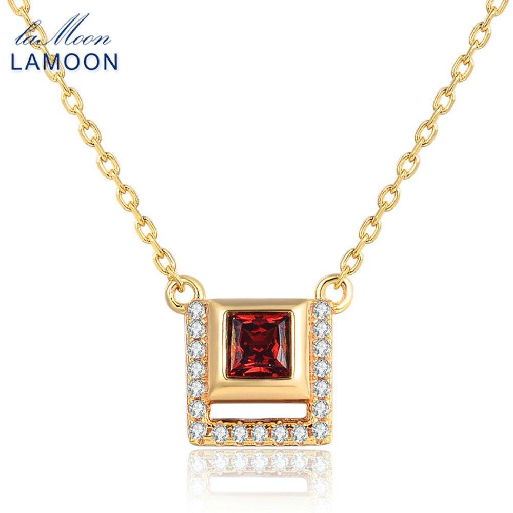 LAMOON 925 Sterling Silver Square Pendant Necklace For Women 0.25ct 100% Natural Red Garnet Gemstone Fine Jewelry Bijoux NI020