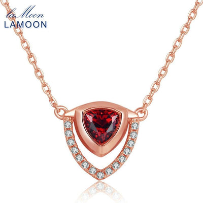 LAMOON Triangle Shape 0.5ct 100% Natural Red Garnet Gemstone 925 Sterling Silver Fine Jewelry Pendant Necklace For Women NI014