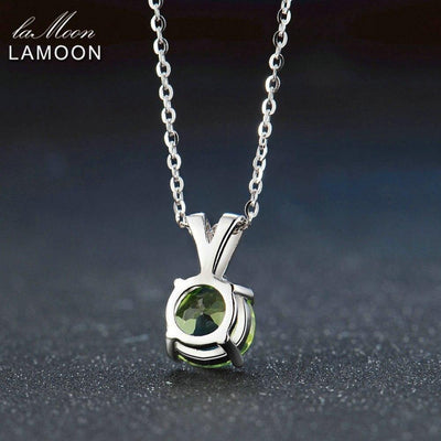 LAMOON Women Jewelry S925 Sterling Silver Chain Pendant Necklace Natural Gemstone Round Green Peridot Classic Necklaces NI057