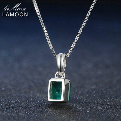 LAMOON Pendant Necklace For Women Square Black Chalcedony Gemstone 925 Sterling Silver Simple Fine Jewelry Chain Necklaces NI039