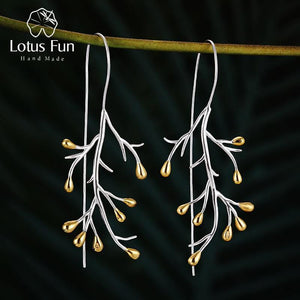 Lotus Fun Real 925 Sterling Silver Earrings Natural Creative Fine Jewelry Statement Tree Fashion Drop Earrings for Women Brincos