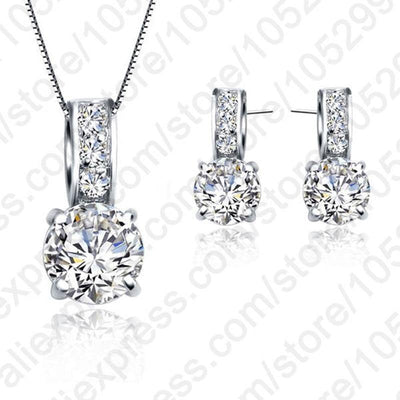 European Brand 925 Sterling Silver Rainestone Pendant  Necklace/Earring Women Jewelry Sets Wholesale