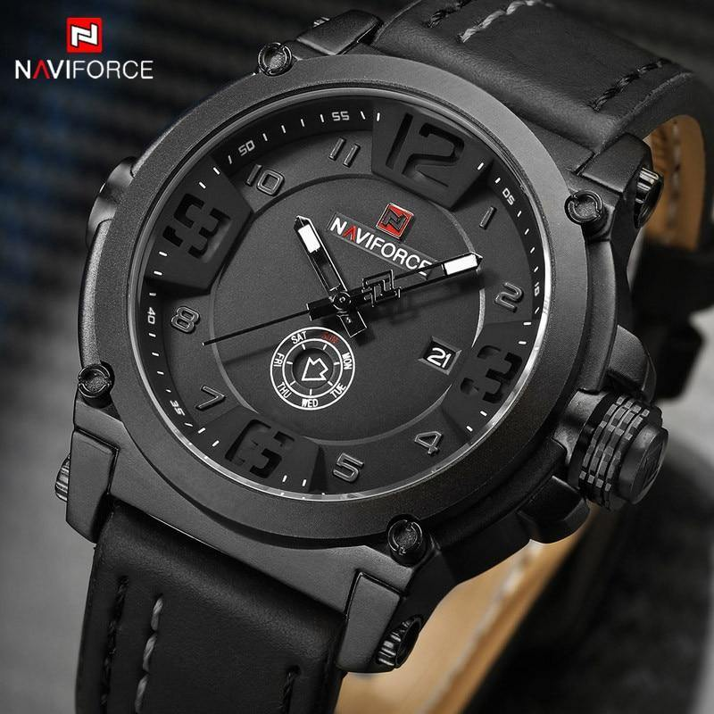 NAVIFORCE Men Watch Date Week Sport Mens Watches Top Brand Luxury Military Army Business Leather Band Quartz Male Clock New 9099