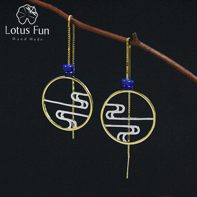 Lotus Fun Real 925 Sterling Silver Modern Chinese Style Handmade Designer Fine Jewelry Incense Smoke Drop Earrings for Women