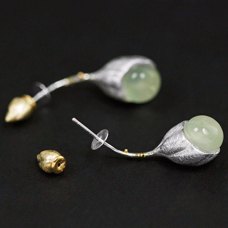 Lotus Fun Real 925 Sterling Silver Natural Stone Handmade Designer Fine Jewelry Elegant Lotus Buds Dangle Earrings for Women