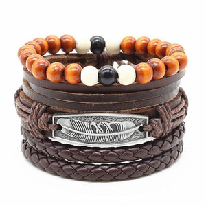 4pcs/set Handmade Fashion Trendy Vintage Female Femme Homme Male Punk Wood Bead Charm Men  Leather Bracelet For Women Jewelry