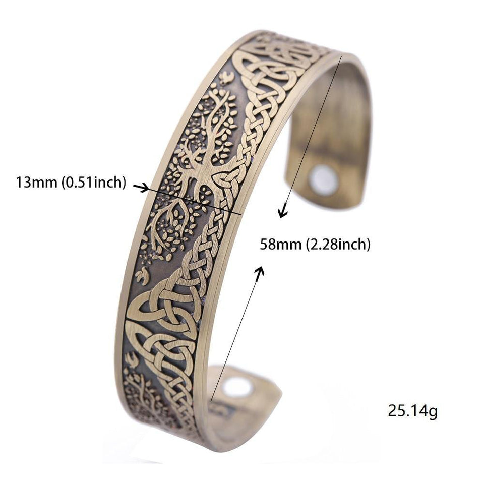 Skyrim Vintage Tree of Life Bracelet Viking Cuff Bangle Stainless Steel Zinc Alloy Magnetic Bangles Jewelry Gift for Men Women