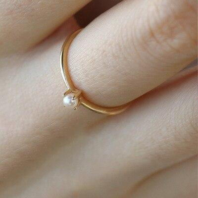 ZHOUYANG Ring For Women Delicate Mini Pearl Thin Ring Minimalist basic Style Light Yellow Gold Color Fashion Jewelry KBR010
