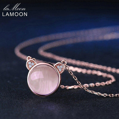 LAMOON Lovely Pink Bear Necklace&Pendent For Women 4.8ct Natural Gemstone Rose Quartz 925 Sterling Silver F ine Jewelry NI007