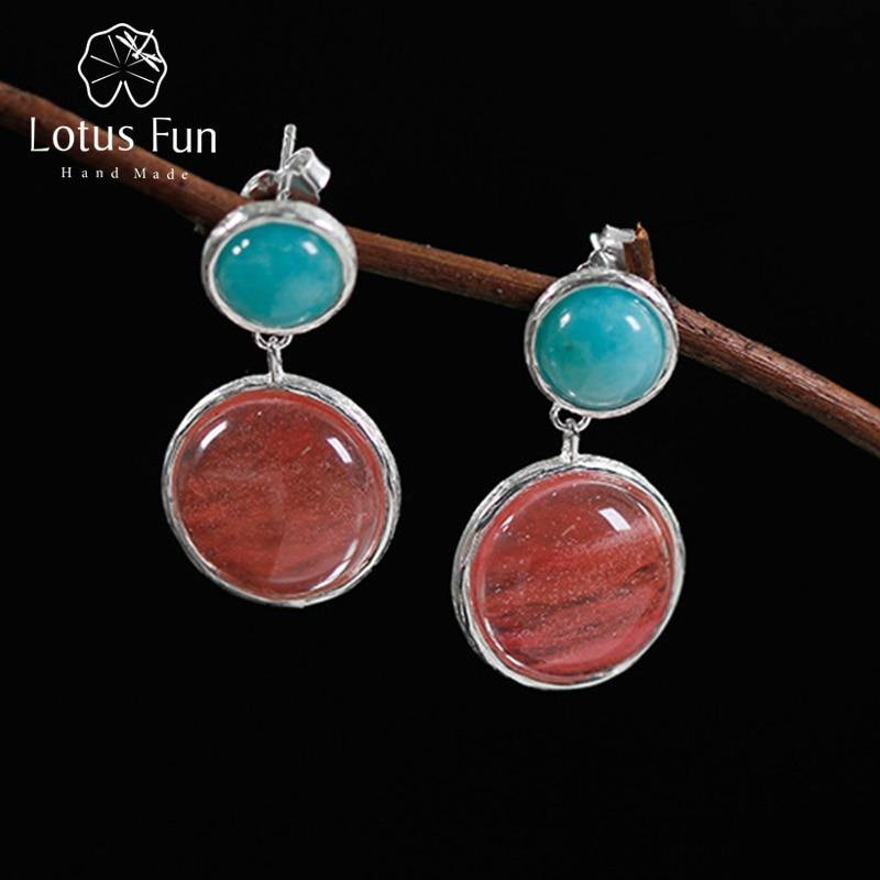 Lotus Fun Real 925 Sterling Silver Natural Amazonite Handmade Fine Jewelry Candy house Dangle Earrings for Women Brincos