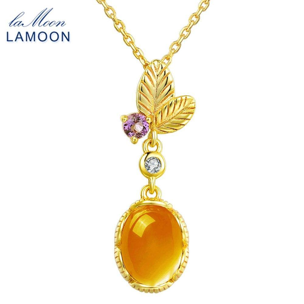 LAMOON Pendant Necklace For Women With 2ct 100% Natural Oval Citrine Gemstone 925 Sterling Silver Fine Jewelry Colar NI010