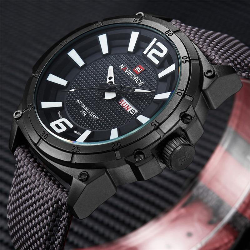 NAVIFORCE Men Watch Date Week Sport Mens Watches Top Brand Luxury Military Army Business Nylon Band Quartz Male Clock Gift 9066