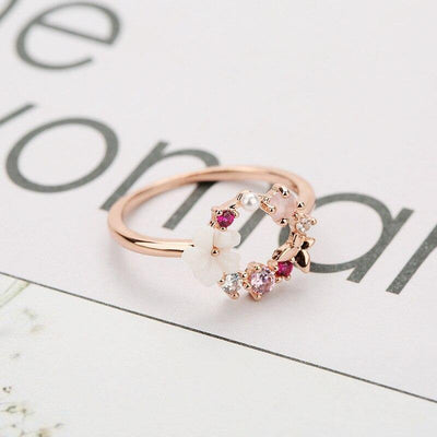 Fashion Creative Butterfly Flowers Crystal Finger Wedding Rings for Women Rose Gold Zircon Glamour Ring Jewelry Girl Gift Bijoux