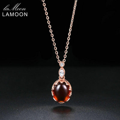 LAMOON Vintage Natural Gemstone Pendant Necklace for Women Oval Garnet 925 Sterling Silver Rose Gold Color Fine Jewelry NI022
