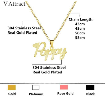 Gold Box Chain Custom Jewelry Personalized Name Pendant Necklace Handmade Cursive Nameplate Choker Women Men Bijoux BFF Gift