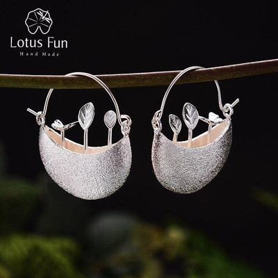 Lotus Fun Real 925 Sterling Silver Natural Creative Handmade Fine Jewelry My Little Garden Dangle Earrings for Women Brincos