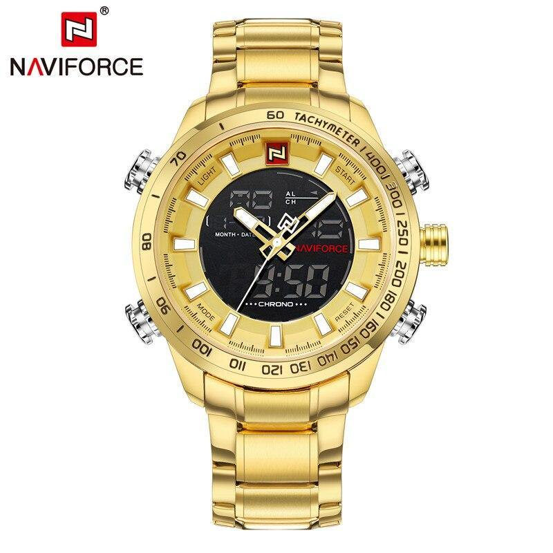 NAVIFORCE Men Watch Digital Analog Sport Mens Wristwatch Top Brand Luxury Military Stainless Steel LED Quartz Male Clock 9093