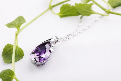 Amethyst with 925 Sterling Silver Water Drop Pendant