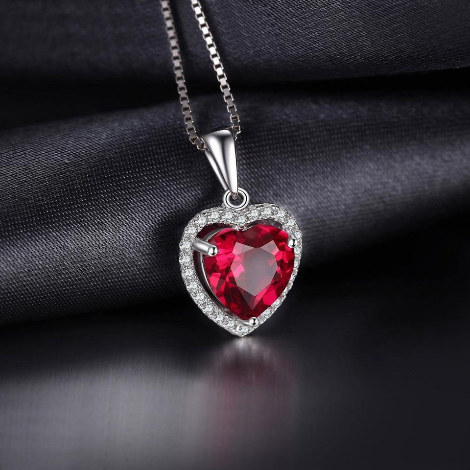 JPalace Heart Created Red Ruby Pendant Necklace 925 Sterling Silver Gemstones Choker Statement Necklace Women No Chain