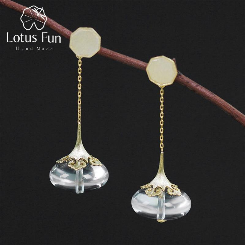 Lotus Fun Real 925 Sterling Silver Modern Chinese Style Handmade Designer Fine Jewelry Natural Crystal Drop Earrings for Women