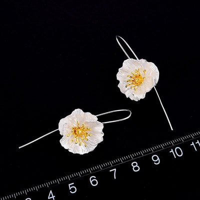 Lotus Fun Real 925 Sterling Silver 18K Gold Handmade Fine Jewelry Cute Blooming Poppies Flower Dangle Earrings for Women Brincos