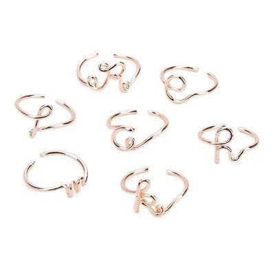 Unisex Gold Silver Color A-Z 26 Letters Initial Name Rings for Women Men Geometric Alloy Creative Finger Rings Jewelry Wholesale