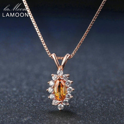 Lamoon Pendant Necklace For Women Natural Citrine Yellow Gemstone 925 Sterling Silver Horse Eye Shape Chain Fine Jewelry NI001